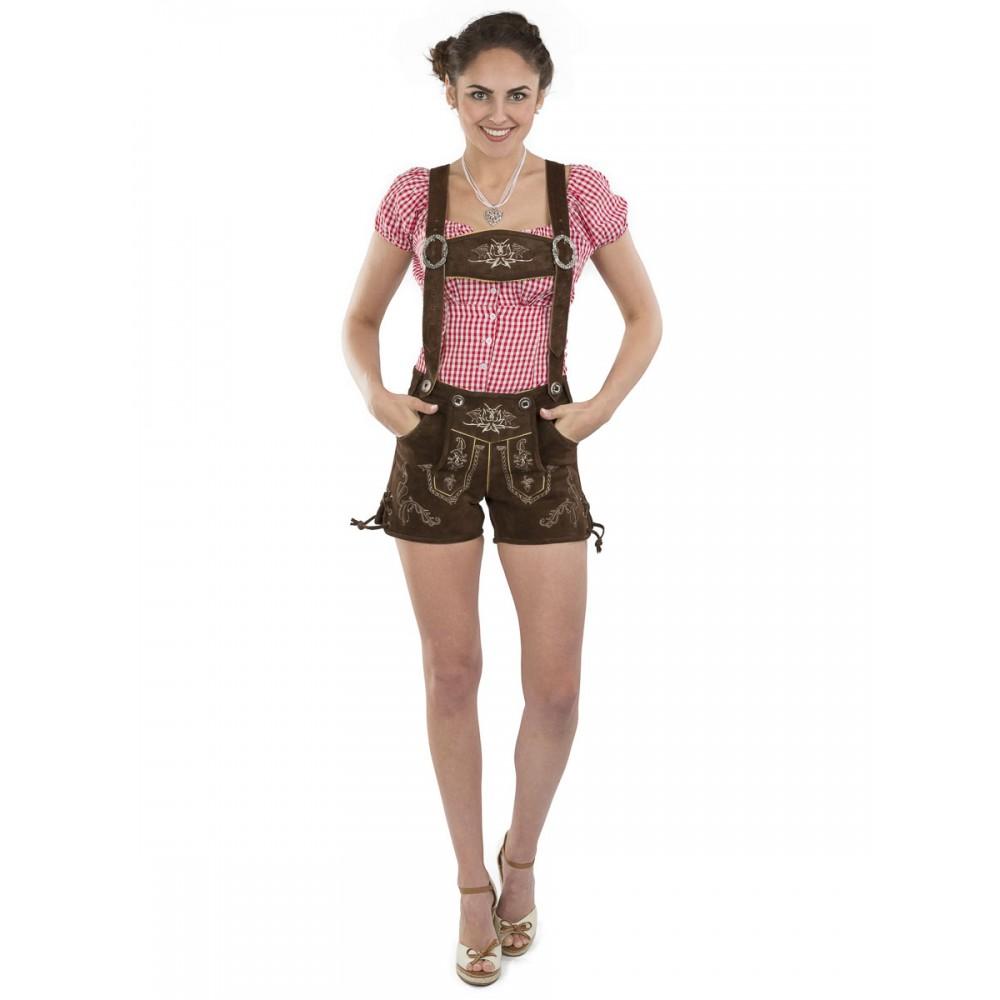Online kaufen hohe Qualitätsgarantie heißer verkauf billig Damen Lederhose Almglück - braun / mit Hosenträgern