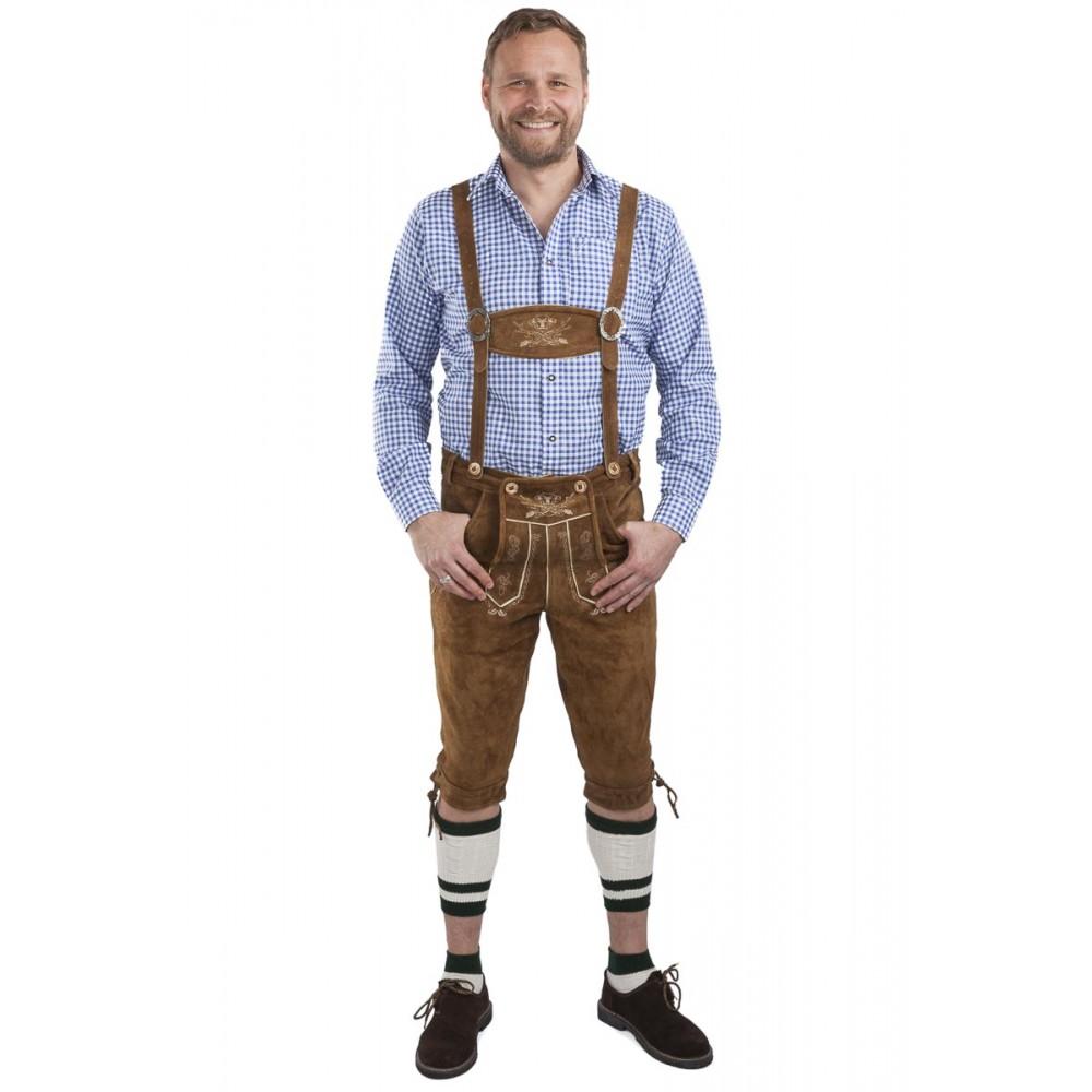 Sch/öneberger Trachten Herren Lederhose Kniebund Trachtenlederhose Hopfen und Malz braun