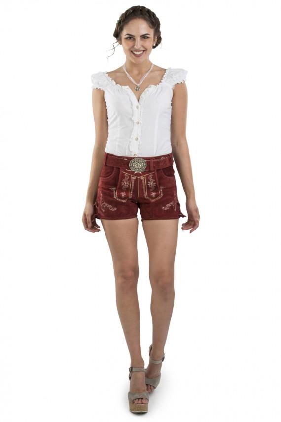 Damen Lederhose Hannah – rot / mit Gürtel