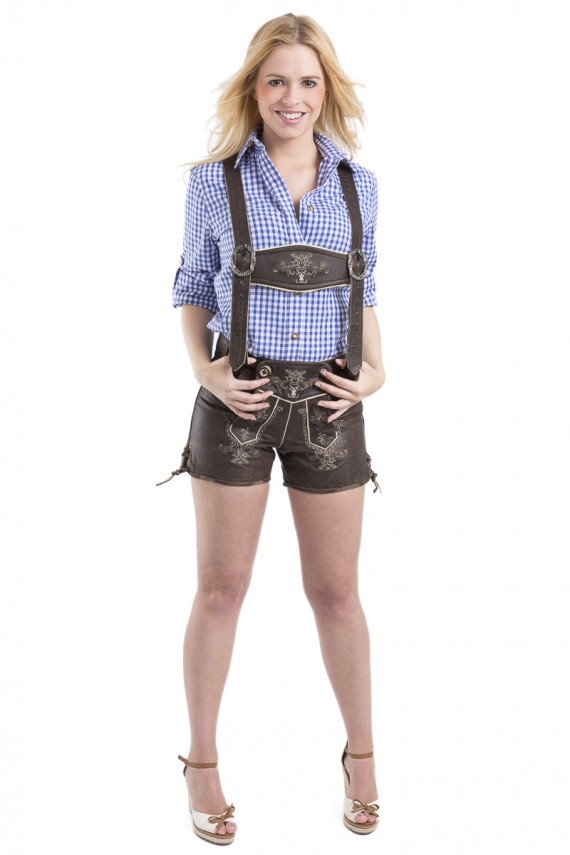 Damen Lederhose Paulina - vintage / mit Hosenträgern