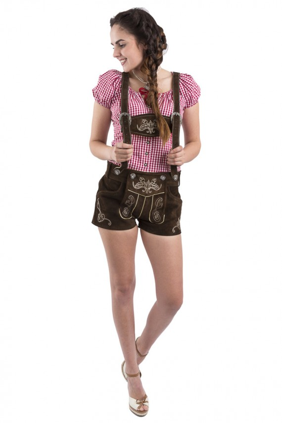 Damen Lederhose kurz Jugendblüte
