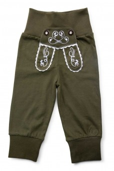 "Kinder-Jogginghose ""Reh"" im Lederhosen Design - dunkelgrün"