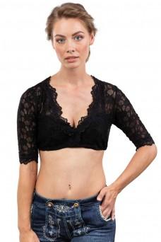 Damen Dirndlbluse Windrose - elegant & transparent - schwarz