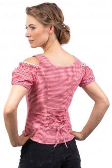 Damen Trachtenbluse Alpenklee - rot/weiss mit stick