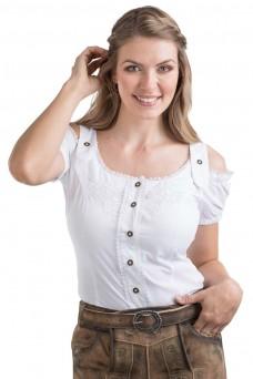Damen Trachtenbluse Alpenklee - weiss