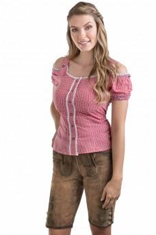 Damen Trachtenbluse Alpenklee - rot/weiss