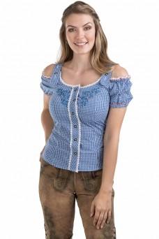 Damen Trachtenbluse Alpenklee - blau/weiss