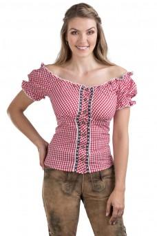 Damen Trachtenbluse Alpenstern - rot/weiss