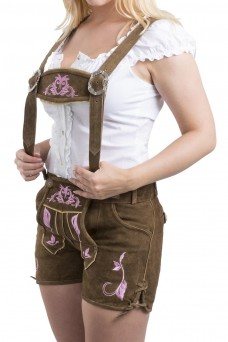 Damen Lederhose Emma - braun/pink