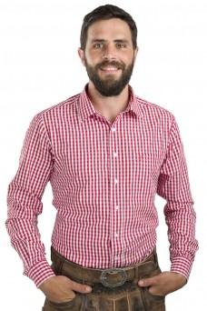 Trachtenhemd Zugspitze - Slim Fit, rot-weiß