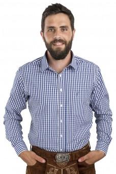 Trachtenhemd Zugspritze - Slim Fit, blau-weiß