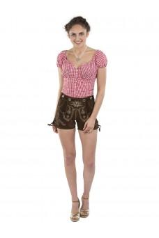 Damen Lederhose Almglück - braun / mit Hosenträgern