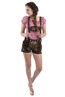 Damen Lederhose Jugendstil - dunkelbraun / mit Hosenträgern