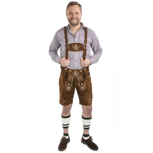 284e7c0073409a Herren Lederhose Alpenjäger - mittelbraun